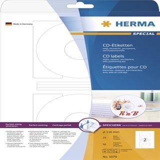 Herma 5079 CD-Etiketten 1.6x1.6 cm (25 Blatt (50 Etiketten))