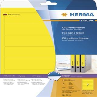 Herma 5091 blickdicht gelb Ordneretiketten 19.2x3.8 cm (20 Blatt (140 Etiketten))