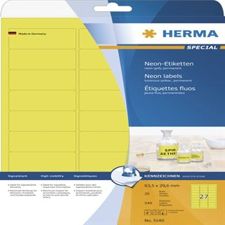 Herma 5140 neon-gelb Universal-Etiketten 6.35x2.96 cm (20 Blatt (540 Etiketten))