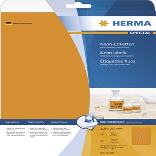 Herma 5149 neon-orange Universal-Etiketten 21.0x29.7 cm (20 Blatt (20 Etiketten))