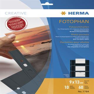 Herma Fotosichthüllen 90 x 130 mm quer schwarz 10 Hüllen