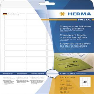 Herma 8016 glasklar folie Universal-Etiketten 4.57x2.12 cm (25 Blatt (1200 Etiketten))