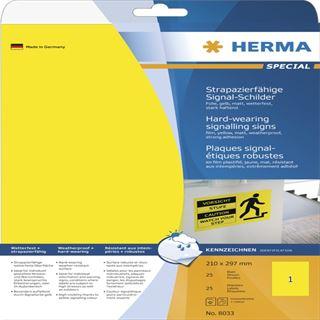 Herma 8033 strapazierfähig Signal-Schilder 21.0x29.7 cm (25 Blatt (25 Etiketten))