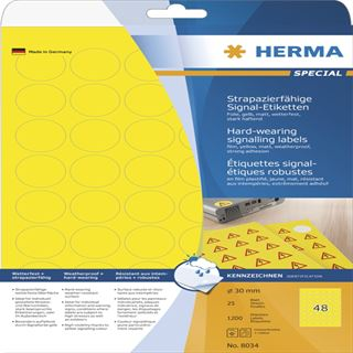 Herma 8034 strapazierfähig gelb rund Signal-Schilder 3.05x1.69 cm (25 Blatt (1200 Etiketten))