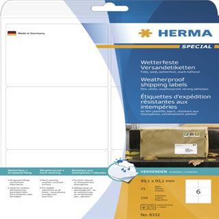 Herma 8332 extrem stark haftend Adressetiketten 9.91x9.31 cm (25 Blatt (150 Etiketten))