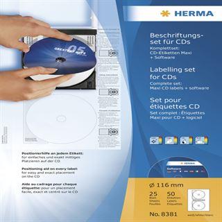 Herma CD-Beschriftungsset, CD-Etiketten A4 + Software