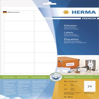 Herma 8633 Premium Universal-Etiketten 6.6x3.38 cm (10 Blatt (240 Etiketten))