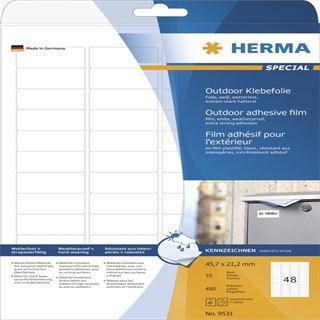 Herma 9531 Outdoor Klebefolie 4.57x2.12 cm (10 Blatt (480 Etiketten))