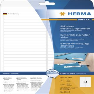 Herma 10015 ablösbar Beschriftungsstreifen 9.6x1 cm (25 Blatt (1350 Etiketten))