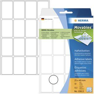 Herma 10613 ablösbar Vielzwecketiketten 2.5x4 cm (32 Blatt (512 Etiketten))