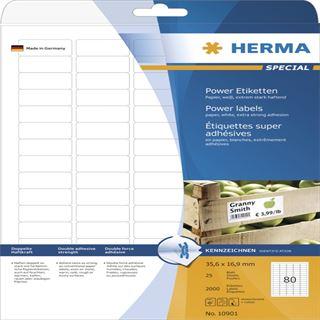 Herma 10901 extrem stark haftend Universal-Etiketten 3.56x1.69 cm (25 Blatt (2000 Etiketten))
