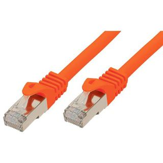 (€7,80*/1m) 0.50m Good Connections Cat. 7 Rohkabel Patchkabel S/FTP PiMF RJ45 Stecker auf RJ45 Stecker Orange halogenfre