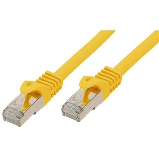 (€0,79*/1m) 15.00m Good Connections Cat. 7 Rohkabel Patchkabel S/FTP PiMF RJ45 Stecker auf RJ45 Stecker Gelb halogenfrei