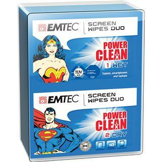 (€0,14*/1L) EMTEC Duo-Tücher Superman & Wonder Woman elektronische Geräte Reinigungstuch 20 Stück (ECCLWIPEDUO)