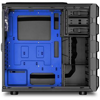 Sharkoon Bulldozer blau beleuchtet mit Sichtfenster Midi Tower ohne Netzteil schwarz