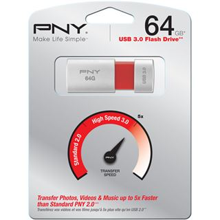 64 GB PNY Wave Attache silber/rot USB 3.0