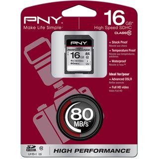 16 GB PNY High Performance SD16G10HIGPER80-EF SDHC Class 10 Retail