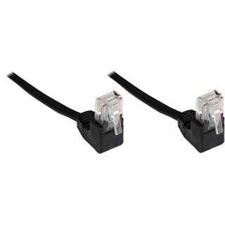 10.00m Good Connections Cat. 5e Patchkabel U/UTP RJ45 Stecker auf RJ45 Stecker Schwarz 90° gewinkelt