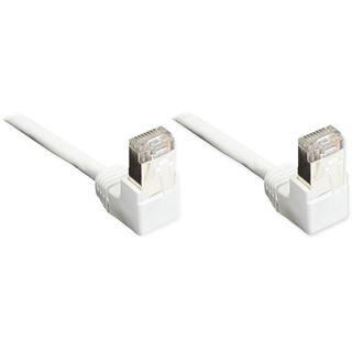(€0,49*/1m) 10.00m Good Connections Cat. 5e Patchkabel F/UTP RJ45 Stecker auf RJ45 Stecker Weiß 90° gewinkelt