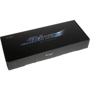 Ducky Shine 3 Slim blaue LED MX Brown CHERRY MX Brown USB Deutsch schwarz (kabelgebunden)