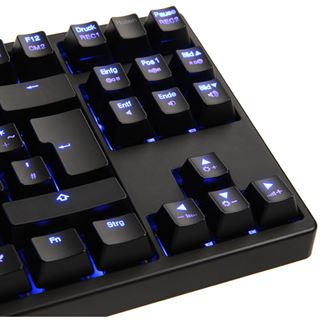 Ducky Shine 3 Slim blaue LED MX Blue CHERRY MX Blue USB Deutsch schwarz (kabelgebunden)