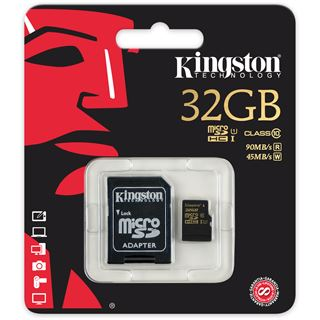 32 GB Kingston SDCA10 UHS-I microSDHC Class 10 Retail inkl. Adapter auf SD