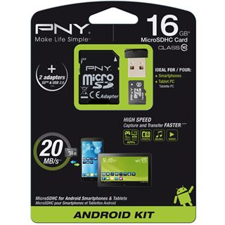 16 GB PNY Android Kit microSDHC Class 10 Retail inkl. Adapter auf SD