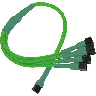 Nanoxia 30 cm sleeved neon grünes Adapterkabel für 3-Pin Molex zu 4x 3-Pin (NX34A30NG)