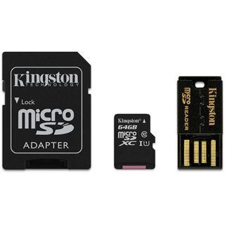 64 GB Kingston Mobility Kit microSDXC Class 10 Retail inkl. USB-Adapter und Adapter auf SD