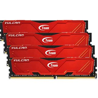16GB TeamGroup Vulcan Series rot DDR4-2666 DIMM CL15 Quad Kit