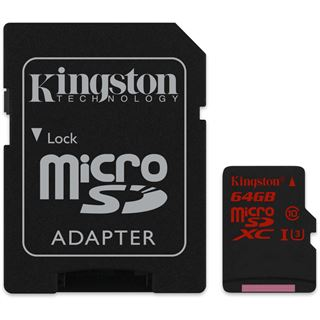 64 GB Kingston microSDXC Class 10 U3 Retail inkl. Adapter auf SD