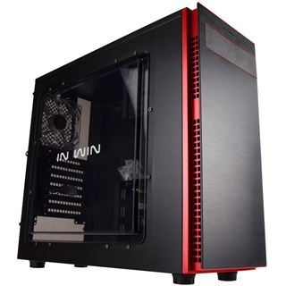 IN WIN 703 mit Sichtfenster Midi Tower ohne Netzteil schwarz/rot