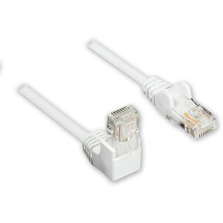 0.50m Good Connections Cat. 5e Patchkabel U/UTP RJ45 Stecker auf RJ45 Stecker Weiß 90° gewinkelt