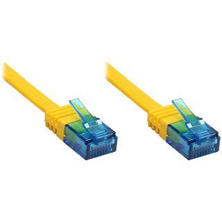 0.50m Good Connections Cat. 6a Patchkabel flach U/UTP RJ45 Stecker auf RJ45 Stecker Gelb vergoldet