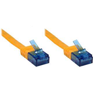0.50m Good Connections Cat. 6a Patchkabel flach U/UTP RJ45 Stecker auf RJ45 Stecker Orange vergoldet