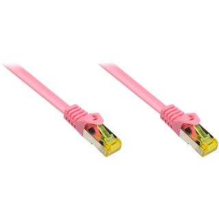 (€4,90*/1m) 1.00m Good Connections Cat. 7 Rohkabel Patchkabel S/FTP PiMF RJ45 Stecker auf RJ45 Stecker Magenta halogenfrei/vergoldet