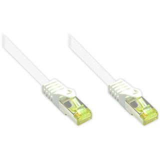 (€0,75*/1m) 40.00m Good Connections Cat. 7 Rohkabel Patchkabel S/FTP PiMF RJ45 Stecker auf RJ45 Stecker Weiß halogenfrei/vergoldet