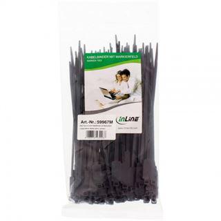 InLine Kabelbinder mit Markierfeld, Länge 200mm, Breite 4,8mm, 100 Stück, schwarz