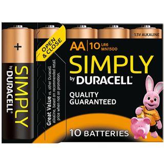 Duracell Simply LR6 Alkaline AA Mignon Batterie 1.5 V 10er Pack