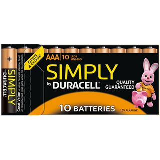 Duracell Simply LR03 Alkaline AAA Micro Batterie 1.5 V 10er Pack