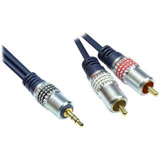 5.00m Good Connections Audio Anschlusskabel 3.5mm Klinke Stecker Stereo auf 2xCinch Stecker Blau vergoldet