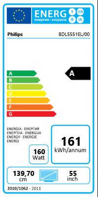 """55"""" (139,70cm) Philips BDL5551EL/00 schwarz 1920x1080 1xHDMI 1.3/1xVGA/2xDVI/1xKomponenten (BNC)/DisplayPort"""